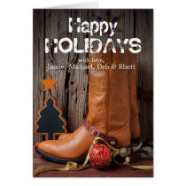 Cowboy boots and christmas ornaments card