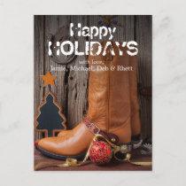Cowboy boots and christmas ornaments holiday postcard