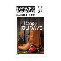 Cowboy boots and christmas ornaments postage