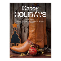 Cowboy boots and christmas ornaments postcard