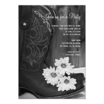 Cowboy Boots and Daisies Country and Western Party Invitation