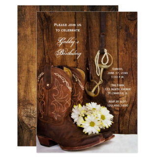 Cowboy Boots and Daisies Country Birthday Party Card