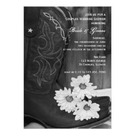 Cowboy Boots and Daisies Couples Wedding Shower Personalized Invites