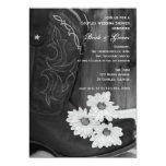 """Cowboy Boots and Daisies Couples Wedding Shower 5"""" X 7"""" Invitation Card"""