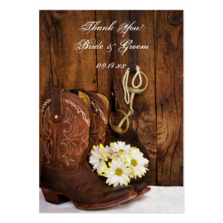 Cowboy Boots and Daisies Ranch Wedding Favor Tags Large Business Card