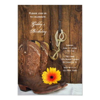 Cowboy Boots and Daisy Country Birthday Party Personalized Invite