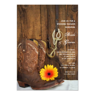 Cowboy Boots and Daisy Horse Bit Wedding Shower Card