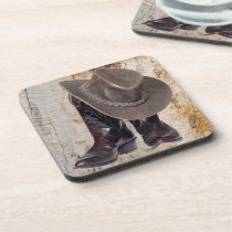 Cowboy Boots and Hat Beverage Coaster