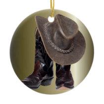 Cowboy Boots and Hat Ceramic Ornament