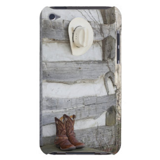 Cowboy boots and hat outside of log cabin Case-Mate iPod touch case