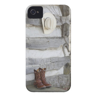 Cowboy boots and hat outside of log cabin Case-Mate iPhone 4 case