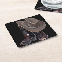Cowboy Boots and Hat Square Paper Coaster