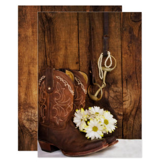 Cowboy Boots and Horse Bit Wedding Save the Date Card