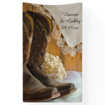 Cowboy Boots and Lace Country Barn Wedding Banner
