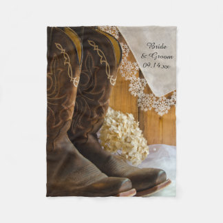 Cowboy Boots and Lace Country Barn Wedding Fleece Blanket