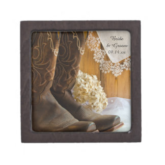 Cowboy Boots and Lace Country Wedding Gift Box