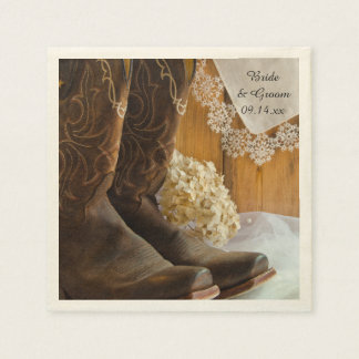 Cowboy Boots and Lace Country Wedding Standard Cocktail Napkin