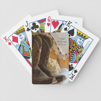 Cowboy Boots and Lace Country Western Wedding Bicycle Playing Cards