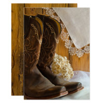 Cowboy Boots and Lace Country Western Wedding Invitation