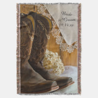 Cowboy Boots and Lace Country Western Wedding Throw Blanket