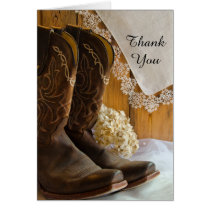 Cowboy Boots and Lace Western Bridesmaid Thank You Card