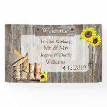 Cowboy Boots and Sunflower Wedding Banner