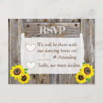 Cowboy Boots and Sunflowers RSVP Wedding Announcement Postcard