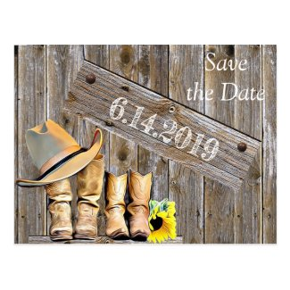 Cowboy Boots and Sunflowers Save the DateWedding Postcard