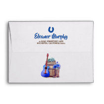 Cowboy Boots Blue Guitar and Barrel Western Style Envelope