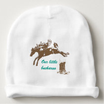 Cowboy Boots & Bucking Bronco Personalized Baby Beanie
