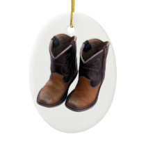 Cowboy Boots Ceramic Ornament