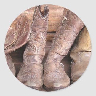 Cowboy Boots Classic Round Sticker