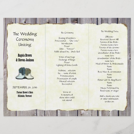 cowboy boots country wedding program template zazzle com