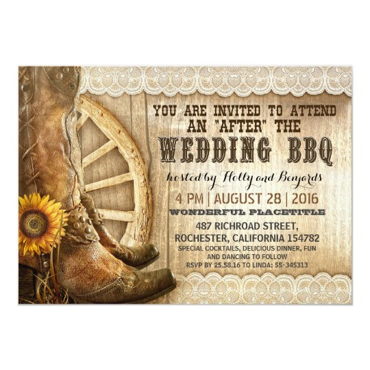 Cowboy Boots Country Western After Wedding BBQ Invitation