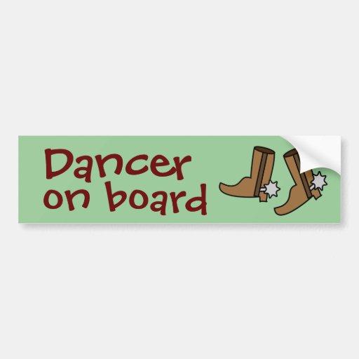 Cowboy Boots Country Western Line Dancer on Board Car Bumper Sticker