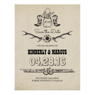 Cowboy Boots Country Western Save the Date Postcard