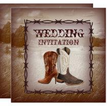 Cowboy Boots Country western Wedding Invitation
