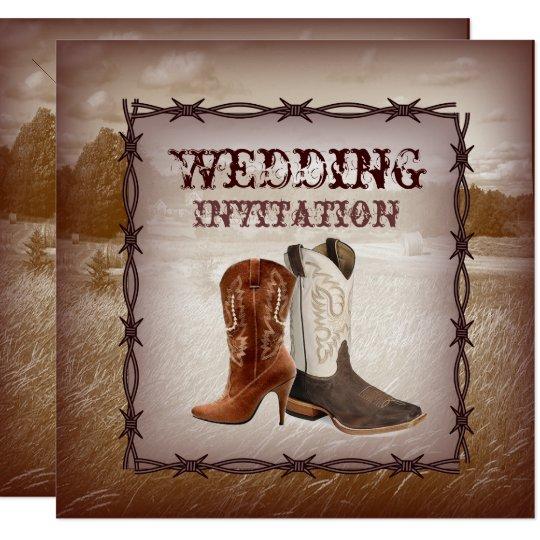 Cowboy Boots Country Western Wedding Invitation Zazzle Com