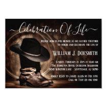 Cowboy Boots Cowboy Hat Funeral Memorial Service Invitation