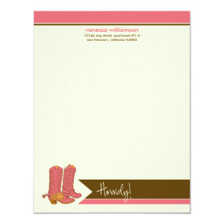 Cowboy Boots Custom Flat Note Cards (pink) Invites
