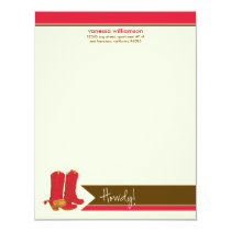 Cowboy Boots Custom Flat Note Cards (red)