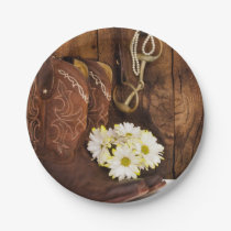Cowboy Boots, Daisies and Horse Bit Ranch Wedding Paper Plate