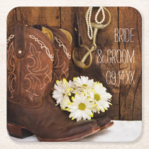 Cowboy Boots, Daisies and Horse Bit Ranch Wedding Square Paper Coaster