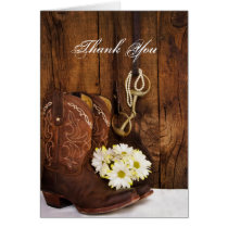 Cowboy Boots, Daisies and Horse Bit Thank You Card