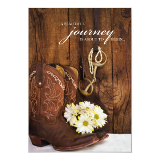 Cowboy Boots, Daisies and Horse Bit Wedding 5x7 Paper Invitation Card