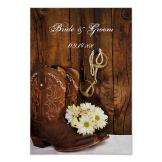 Cowboy Boots, Daisies and Horse Bit Wedding Poster