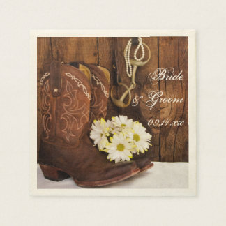Cowboy Boots, Daisies and Horse Bit Wedding Standard Cocktail Napkin