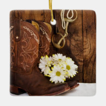 Cowboy Boots, Daisies Horse Bit Country Wedding Ceramic Ornament
