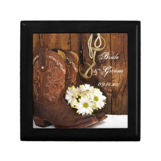 Cowboy Boots, Daisies Horse Bit Country Wedding Gift Boxes