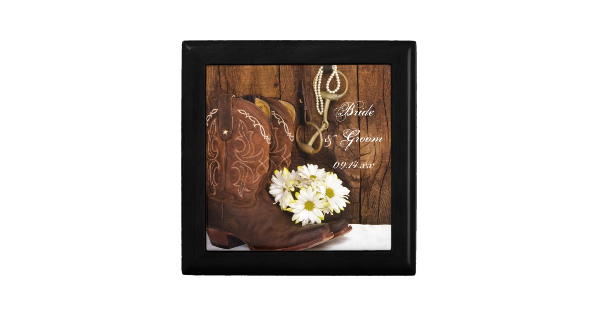 Cowboy Boots Daisies Horse Bit Country Wedding Jewelry Box